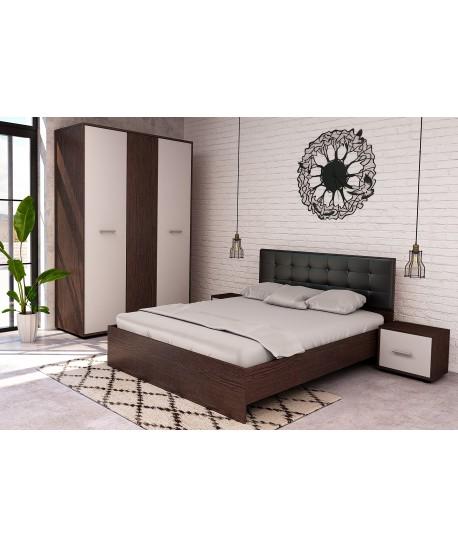 Dormitor Hera Wenge Cu Pat Tapitat Negru