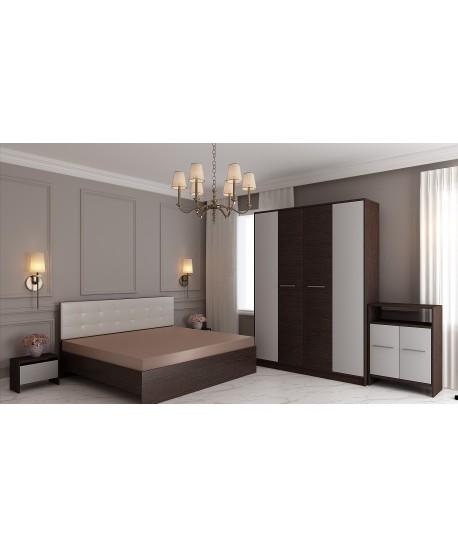 Dormitor MIRELA Cu Pat Tapitat Alb