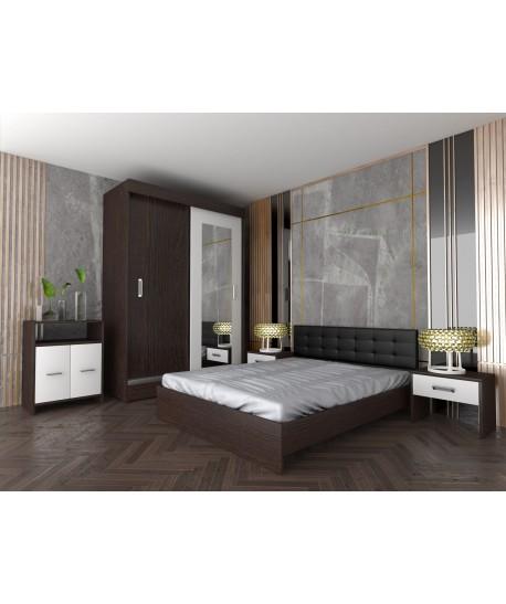 Dormitor INES I Cu Pat Tapitat Negru + Comoda