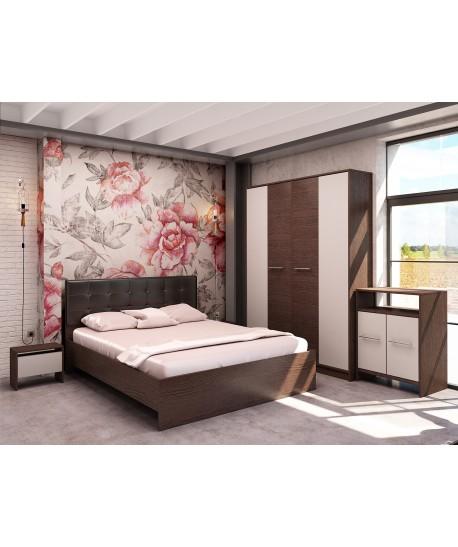 Dormitor MIRELA Cu Pat Tapitat Negru