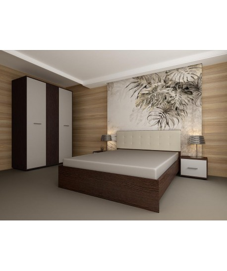Dormitor Hera Wenge Cu Pat Tapitat Alb