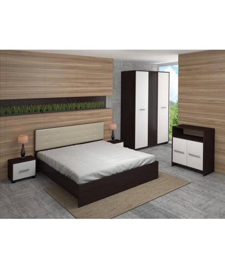 Dormitor MADRID Cu Pat Tapitat Alb