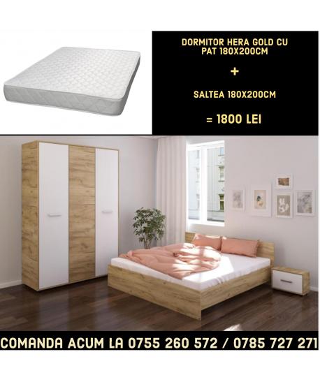 Dormitor Hera II CU PAT 180X200CM+ Saltea Lux Ortopedica 180 x 200 cm